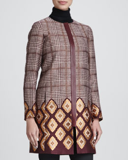 Lafayette 148 New York Aristocratic Long Houndstooth Coat
