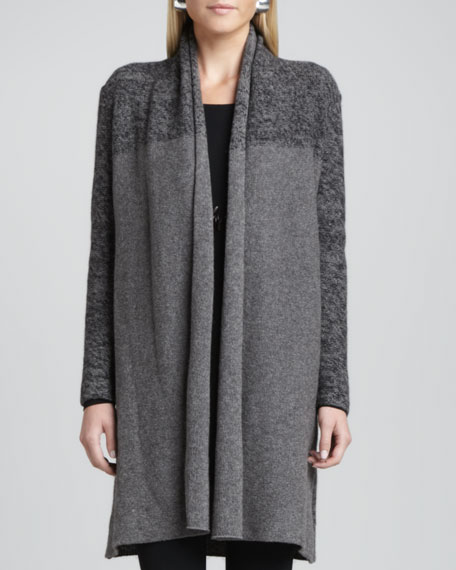 Shawl-Collar Long Cardigan
