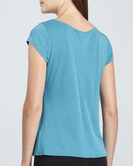 Silk Jersey Cap-Sleeve Tee