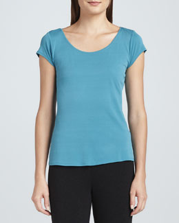 Eileen Fisher Silk Jersey Cap-Sleeve Tee