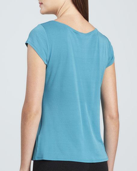 Silk Jersey Cap-Sleeve Tee, Women's
