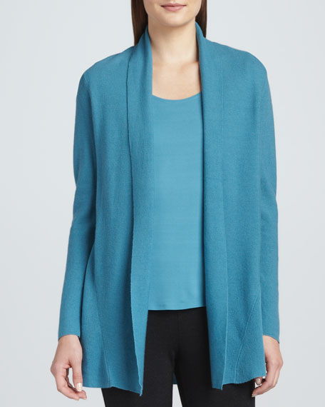 Eileen Fisher Merino Wool Links Cardigan, Silk Jersey Tee, Gauzy ...