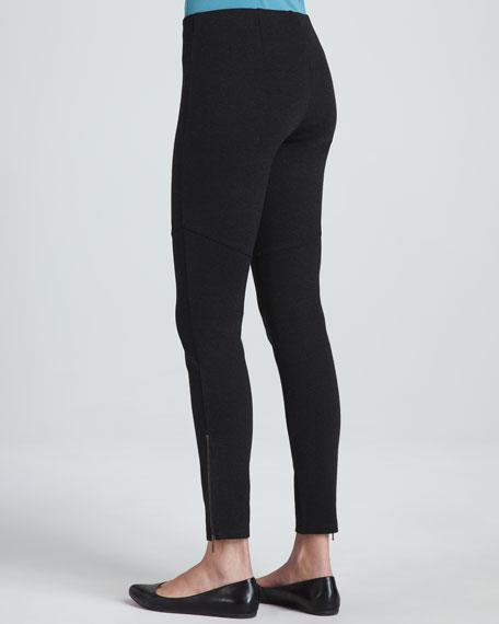 Ponte Skinny Ankle Zip Pants