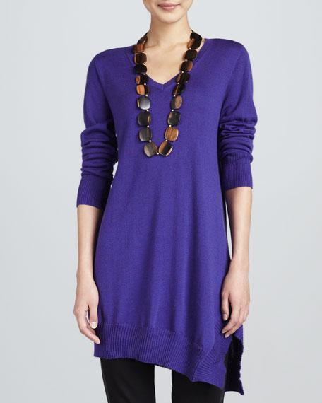Long-Sleeve V-Neck Asymmetric Tunic, Women's