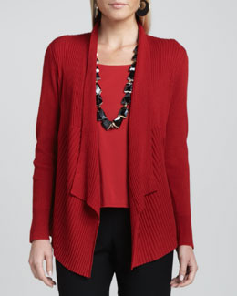 Eileen Fisher Mixed-Texture Merino Cardigan