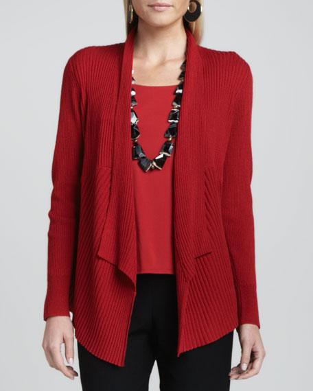 Mixed-Texture Merino Cardigan, Women's