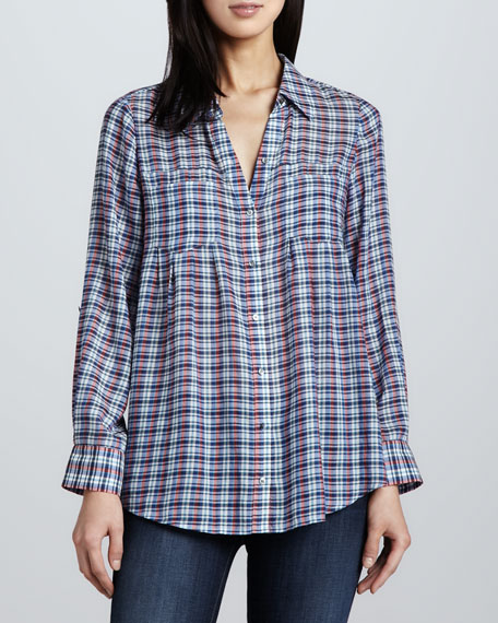 Pinot Plaid Button-Front Blouse