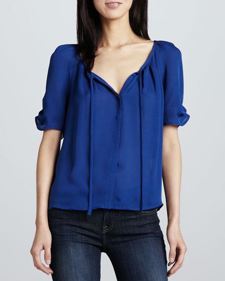 Berkley Short-Sleeve Silk Blouse