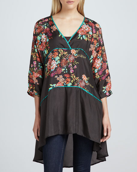 Layered Floral-Print Tunic, Women's