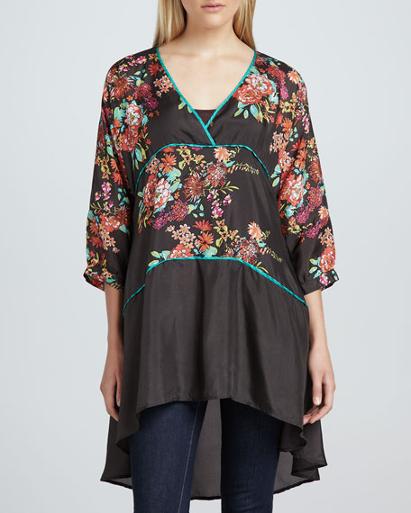 Layered Floral-Print Tunic