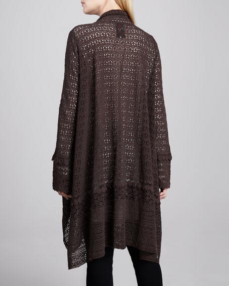 Long Crochet Open Jacket, Women's