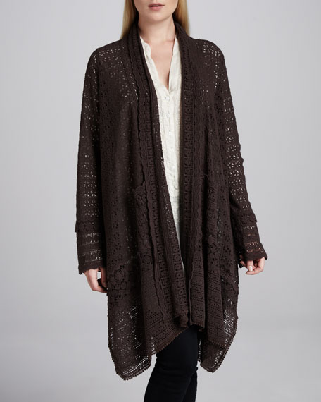 Long Crochet Open Jacket, Women's