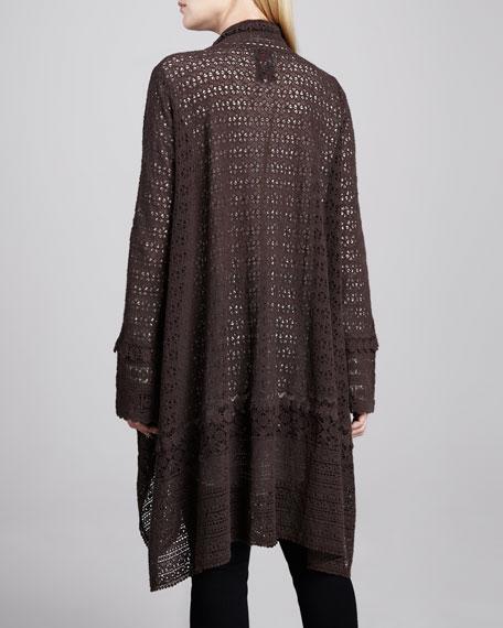 Long Crochet Open Jacket, Dark Cocoa