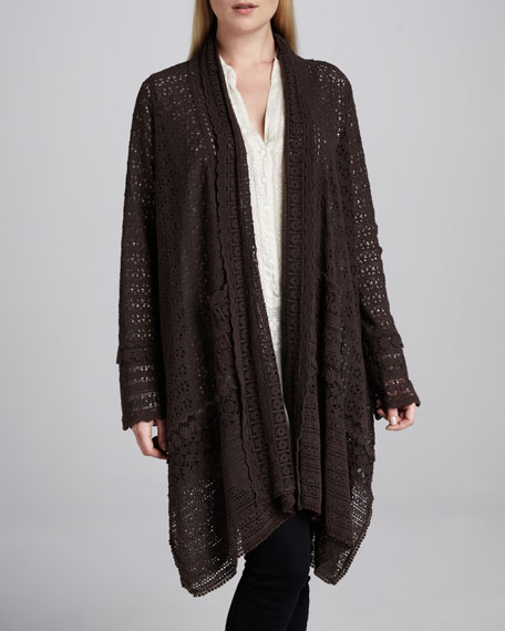 Long Crochet Open Jacket, Dark Cocoa