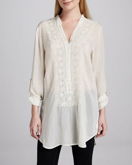 Embroidered Button-Front Tunic, Women's