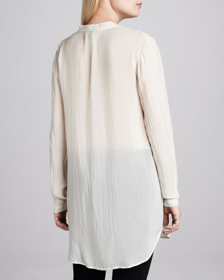 Embroidered Button-Front Tunic