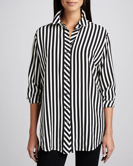 Long Striped Silk Blouse, Women's