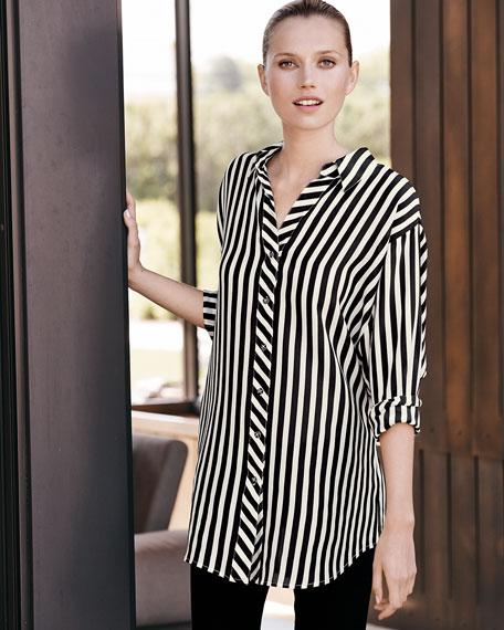 Long Striped Silk Blouse