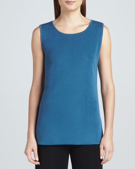 Sleeveless Knit Tank, Blue