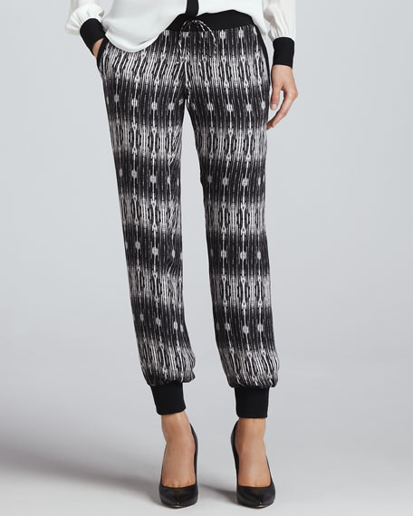 Printed Drawstring Silk Sweatpants