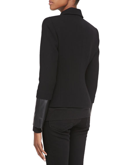 Orah Crepe Jacket with Leather Cuffs