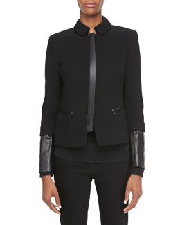 Lafayette 148 New York Orah Crepe Jacket with Leather Cuffs