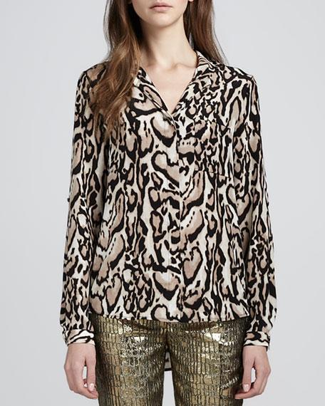 Lorelei Leopard-Print Chiffon Blouse