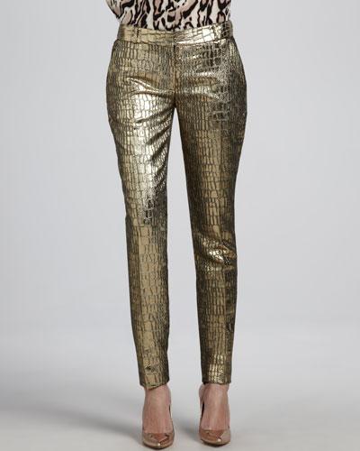 Diane von Furstenberg Mary Metallic Slim Pants