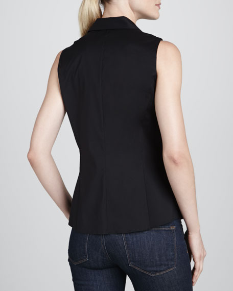 Jane Sleeveless Ruffle-Bib Blouse