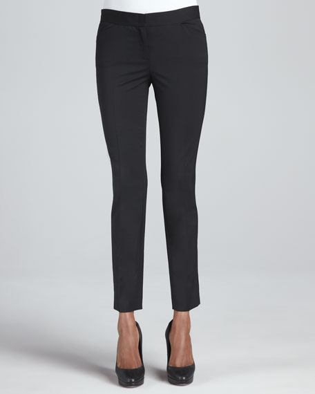 Wool-Stretch Cropped Skinny Pants