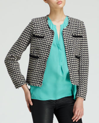 Lyris Cropped Houndstooth Jacket