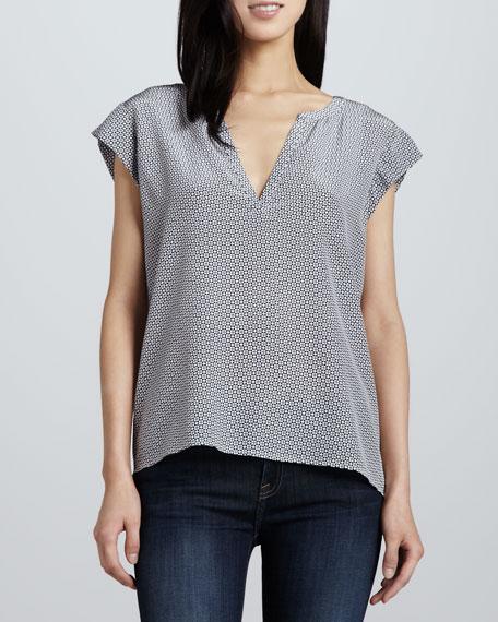 Tashi Diamond-Print Silk Blouse