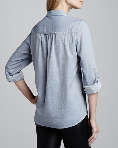 Pinot Button-Front Chambray Top