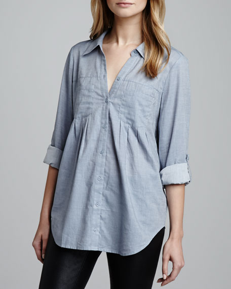 Joie Pinot Button-Front Chambray Top