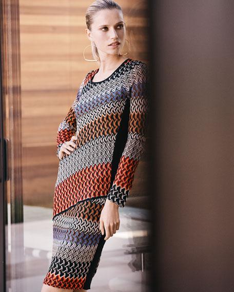 Long-Sleeve Lace Weave Dress