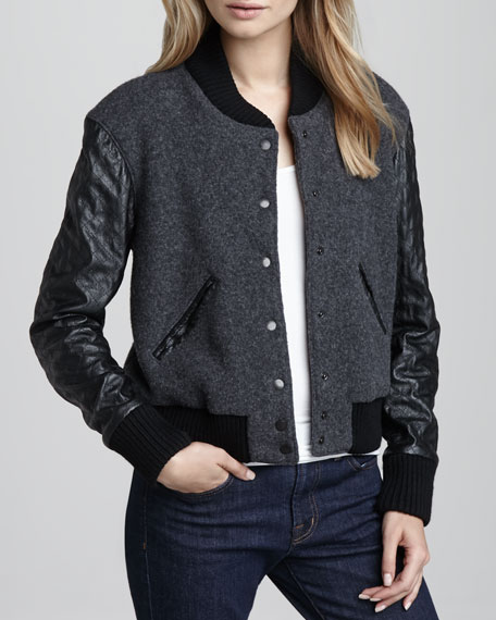 Leather-Sleeve Varsity Jacket