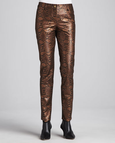 Berek Copper Reptile-Print Pants, Women's