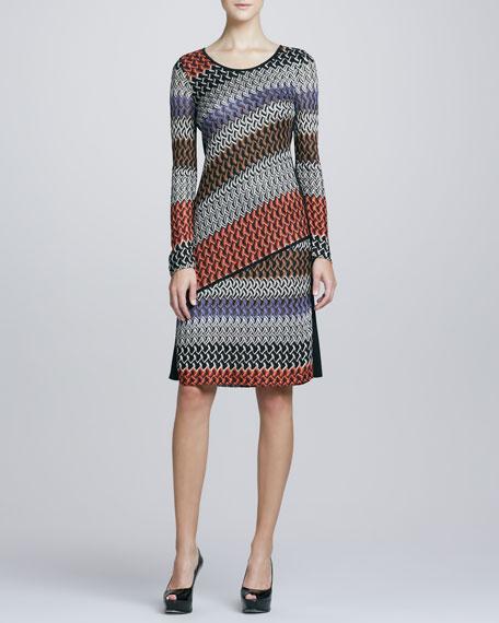 Long-Sleeve Lace Weave Dress, Petite