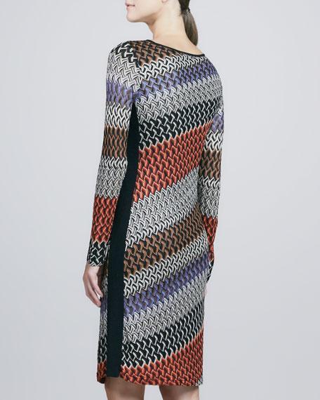 Long-Sleeve Lace Weave Dress, Women's