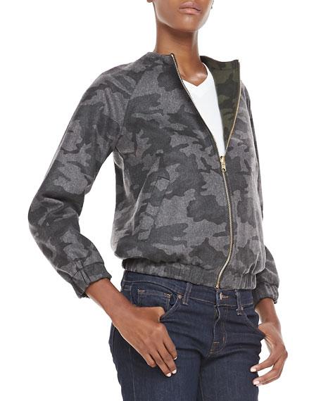 Reversible Woolen Camo Bomber Jacket