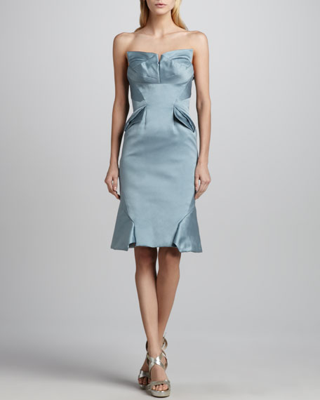 Duchess Satin Strapless Cocktail Dress, Smoky Blue