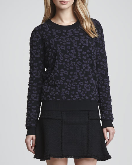 Textured Leopard Knit Pullover
