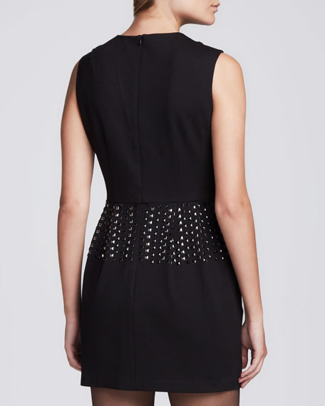 Studded Fitted Crepe Dress