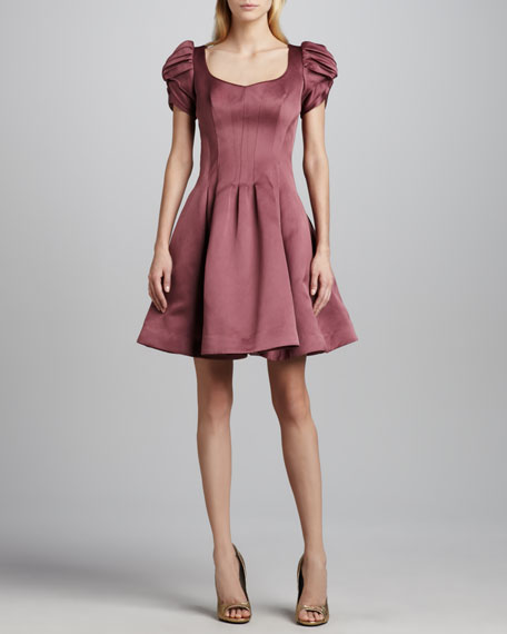 Duchess Satin Fit-and-Flare Dress
