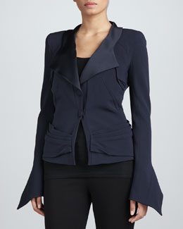 Zac Posen Crepe-Back Satin Jacket