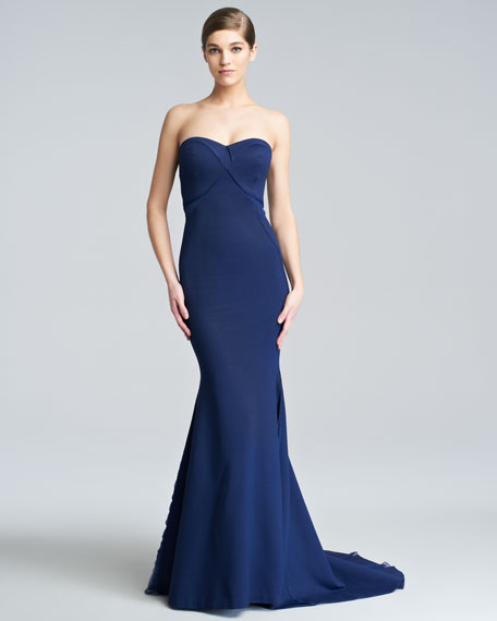 Strapless Jersey Bustier Gown