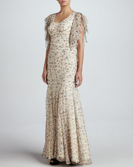 Zac Posen Floral-Print Chiffon Gown