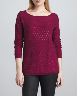 Neiman Marcus Crystal-Front Boat-Neck Sweater