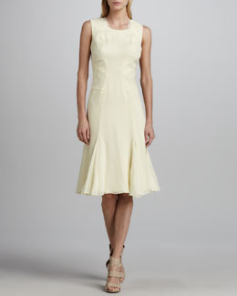 Zac Posen Sleeveless Pintucked Chiffon Dress