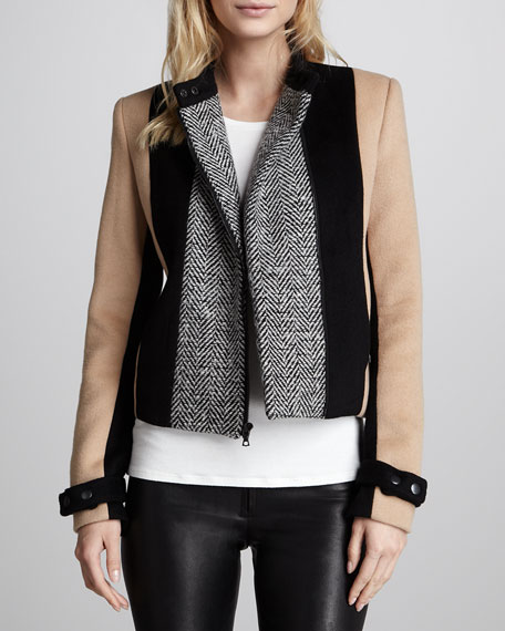 Colorblock Herringbone Jacket